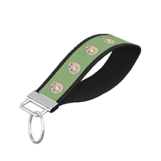 Cat On Its Back Cute White Belly Drawing Design Wrist Keychain