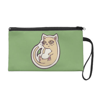 Cat On Its Back Cute White Belly Drawing Design Wristlet