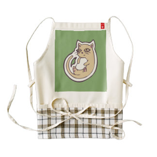 Cat On Its Back Cute White Belly Drawing Design Zazzle HEART Apron