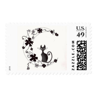 Cat on Moon postage stamp