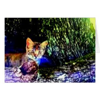 Cat on Oak Roots Card