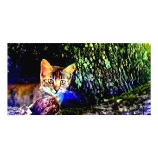 Cat on Oak Roots Custom Photo Card