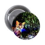 Cat on Oak Roots Pinback Button