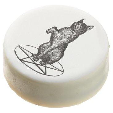 Halloween Themed cat on pentagram Oreo cookies