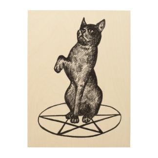 cat on pentagram wood print