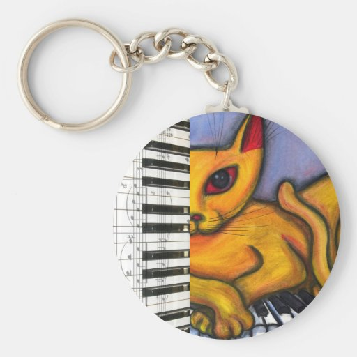 Cat on Piano Keyboard Keychain