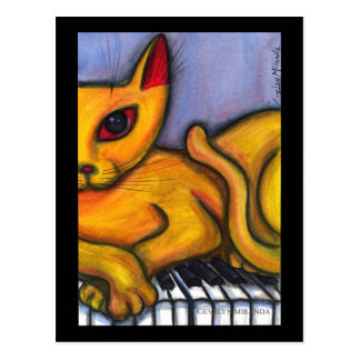 Cat on Piano Keyboard Postcard