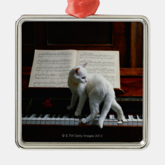 Cat on piano square metal christmas ornament