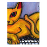 Cat On Piano Postcards