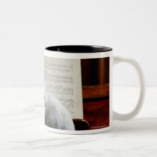 Cat on piano Two-Tone coffee mug