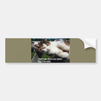 Cat On Picnic Table Bumper Sticker