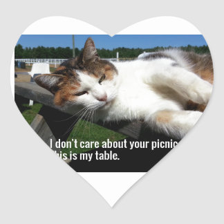 Cat On Picnic Table Heart Sticker