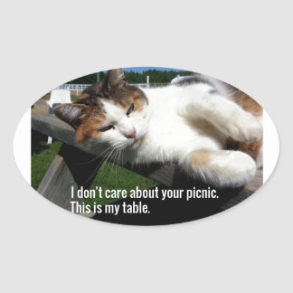 Cat On Picnic Table Oval Sticker