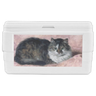Cat on Pink Pillow by Henriëtte Ronner-Knip Ice Chest