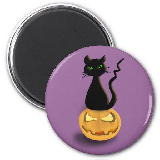 Cat on Pumpkin Halloween Fridge magnet