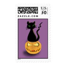 Cat on Pumpkin Happy Halloween Postage Stamps III