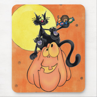 Cat on Pumpkin Mouse Pad