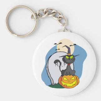 Cat on Pumpkin Near Tombstone And Bats A Full Moon Keychain