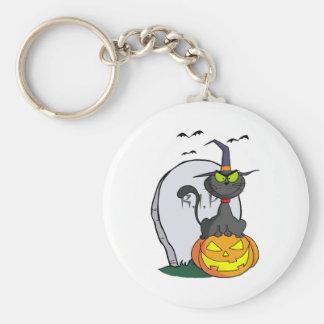 Cat on Pumpkin Near Tombstone And Bats Keychain