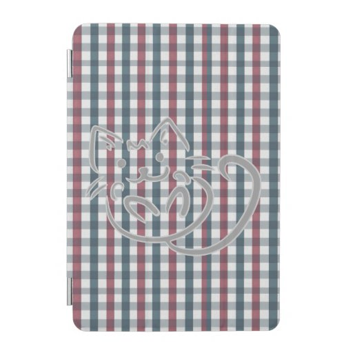 Cat on Red and Blue Plaid iPad Mini Cover