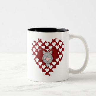Cat on Red Heart Valentine T-shirts and Gifts Two-Tone Coffee Mug