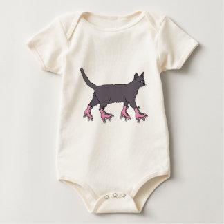 cat-on-roller-skates-shirt baby bodysuit