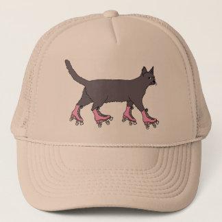 cat-on-roller-skates-shirt trucker hat