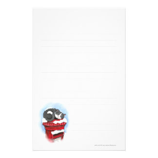 Cat on Snowy English Post Box - Lined Personalized Stationery