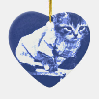 Cat on stool wearing a sweater ceramic ornament