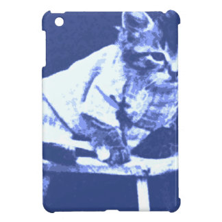 Cat on stool wearing a sweater cover for the iPad mini
