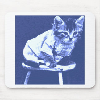 Cat on stool wearing a sweater mouse pad