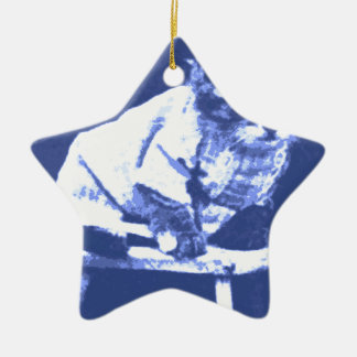 Cat on stool wearing a sweater Double-Sided star ceramic christmas ornament