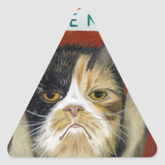 Cat On Strike Triangle Sticker