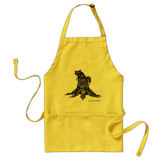 Cat on stump abstract graphic drawing art apron