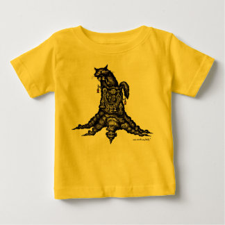 Cat on stump graphic drawing art baby t-shirt