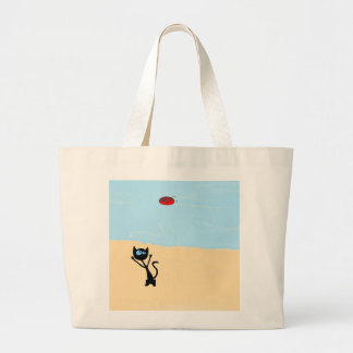 Cat On The Beach Jumping For Frisbee Toy Tote Bags