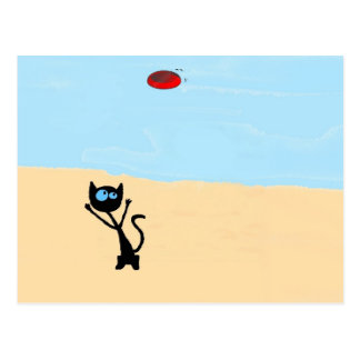 Cat On The Beach Jumping For Frisbee Toy Postcards