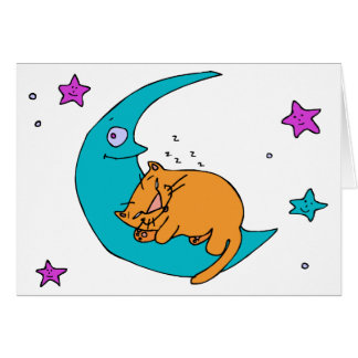 Cat On the Moon Card