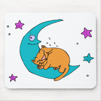 Cat On the Moon Mouse Pad