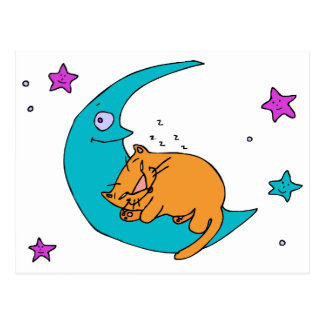 Cat On the Moon Postcard