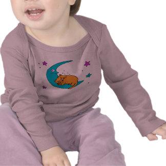 Cat On the Moon Tee Shirts