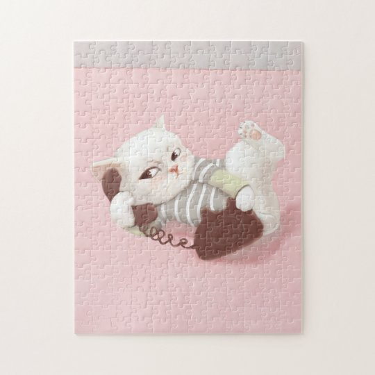 Cat on the Phone Jigsaw Puzzle