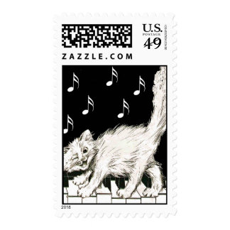 Cat on the Piano Keys Stamp