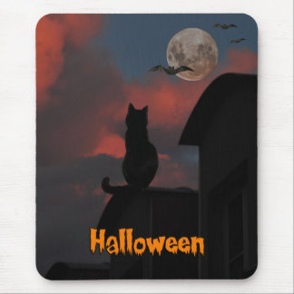 Cat on the roof with a full moon Halloween Mouse Pad