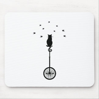 cat on vintage bicycle with birds mouse pad
