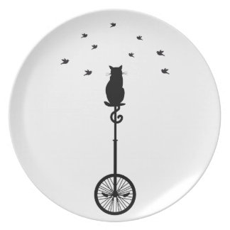 cat on vintage bicycle with birds dinner plate