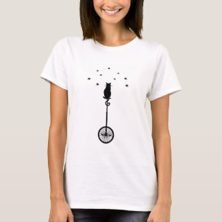 cat on vintage bicycle with birds T-Shirt