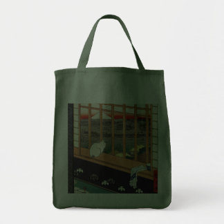 Cat on Window by Hiroshige Canvas Bags