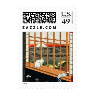 Cat on Window by Hiroshige - Small Postage Stamp
