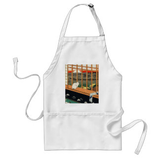 Cat on Window with view of Mt Fuji: Hiroshige 歌川広重 Adult Apron